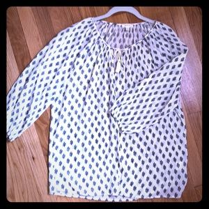 Off white and navy Joie blouse